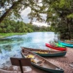 Canoes at Wekiwa Springs in Florida